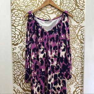 Yoana Baraschi Purple Cold Shoulder Pattern Dress
